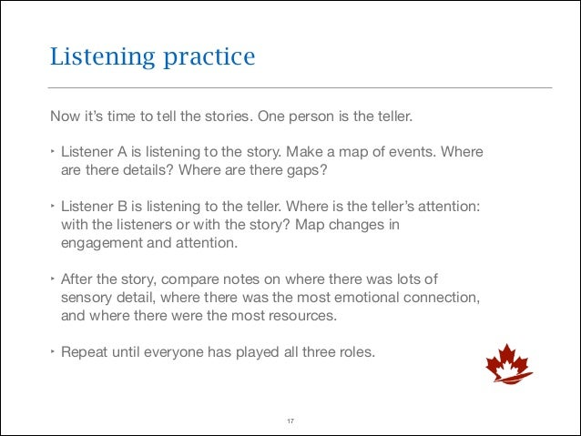 Listening practice Now it's time to tell the stories. One person is the teller.  ‣ Listener A is listening to the story. M...