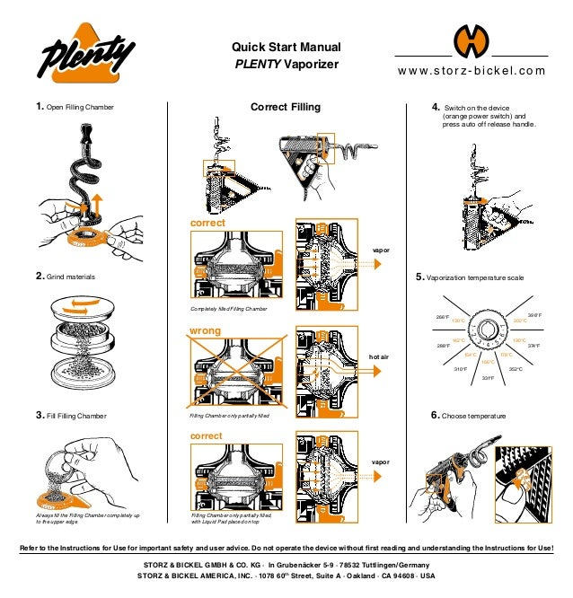 4. Switch on the device  (orange power switch) and  press auto off release handle. Quick Start Manual PLENTY Vaporizer S...