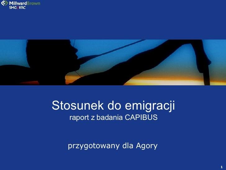 przygotowany dla Agory Stosunek do emigracji raport z badania CAPIBUS