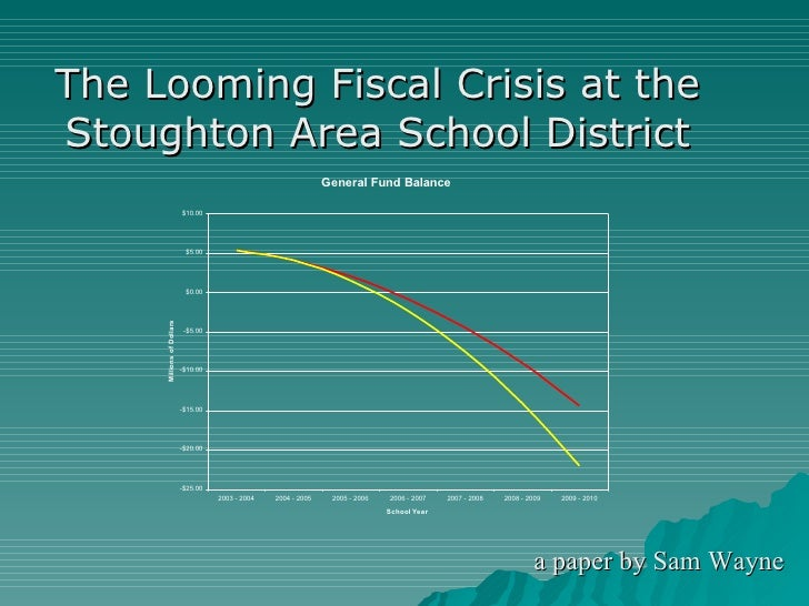 The Looming Fiscal Crisis at the Stoughton Area School District a paper by Sam Wayne