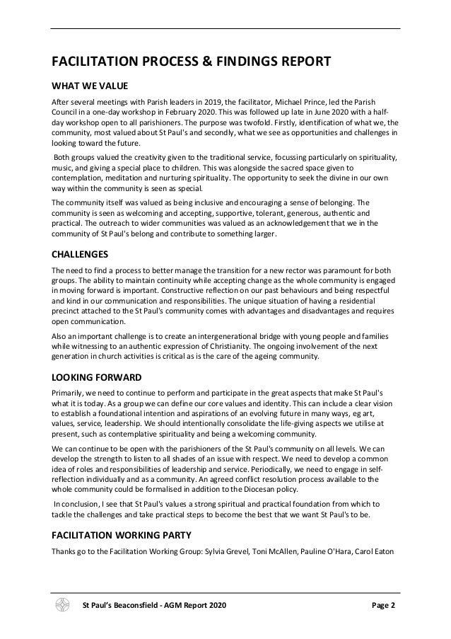 St Paul's Parish AGM report 2020 Slide 3