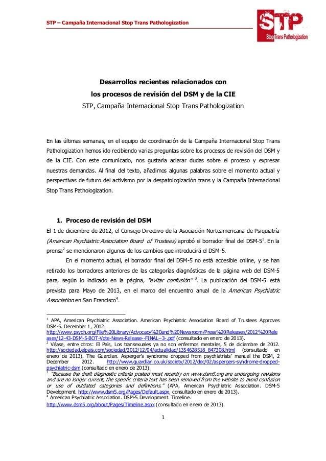 STP – Campaña Internacional Stop Trans Pathologization    1  Desarrollos recientes relacionados con los procesos de r...