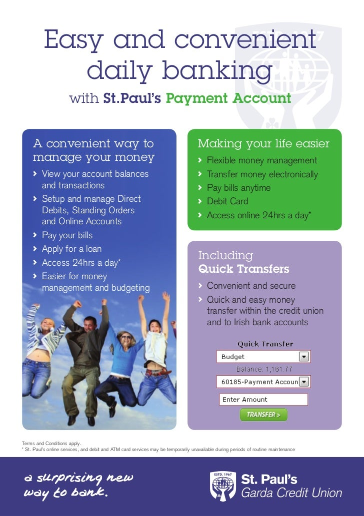 Easy and convenient             daily banking                      with St.Paul's Payment Account     A convenient way to ...