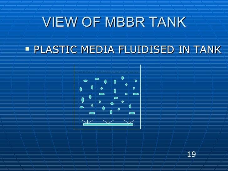 VIEW OF MBBR TANK <ul><li>PLASTIC MEDIA FLUIDISED IN TANK </li></ul>19