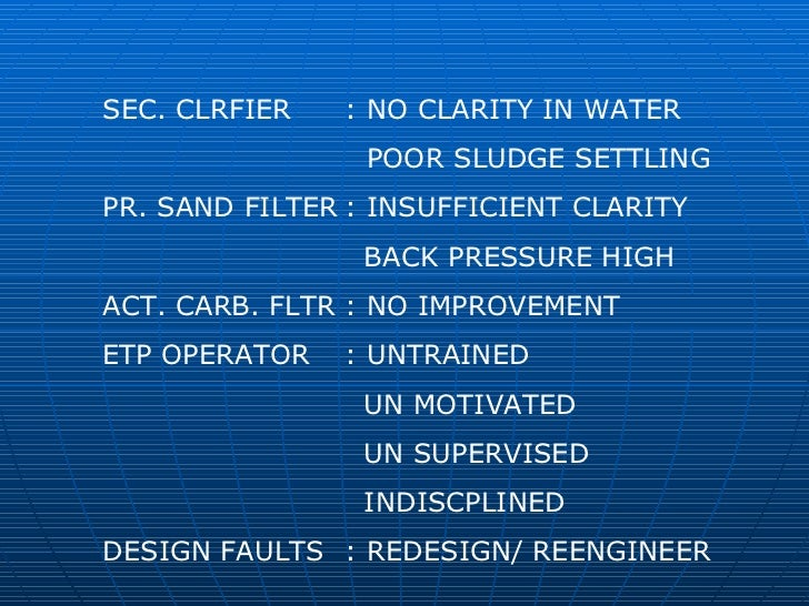 SEC. CLRFIER : NO CLARITY IN WATER POOR SLUDGE SETTLING PR. SAND FILTER : INSUFFICIENT CLARITY   BACK PRESSURE HIGH ACT. C...