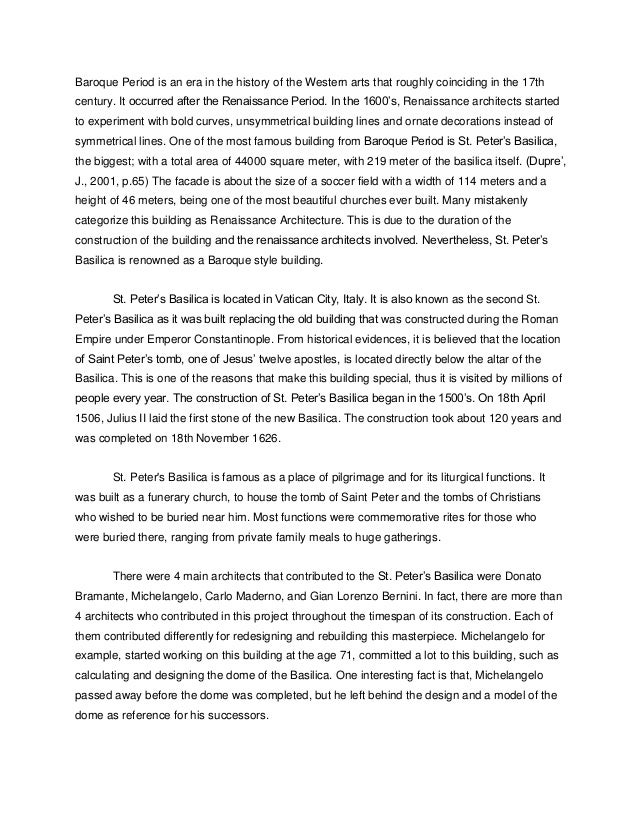 st peter basilica final essay 2