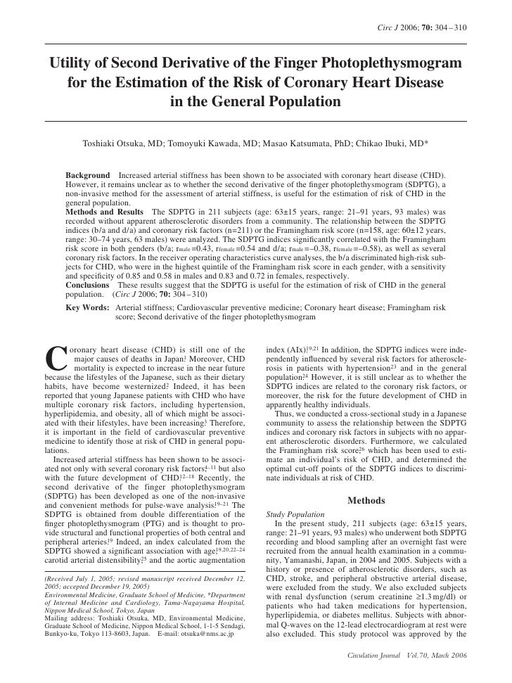 Circ J 2006; 70: 304 – 310     Utility of Second Derivative of the Finger Photoplethysmogram    for the Estimation of the ...