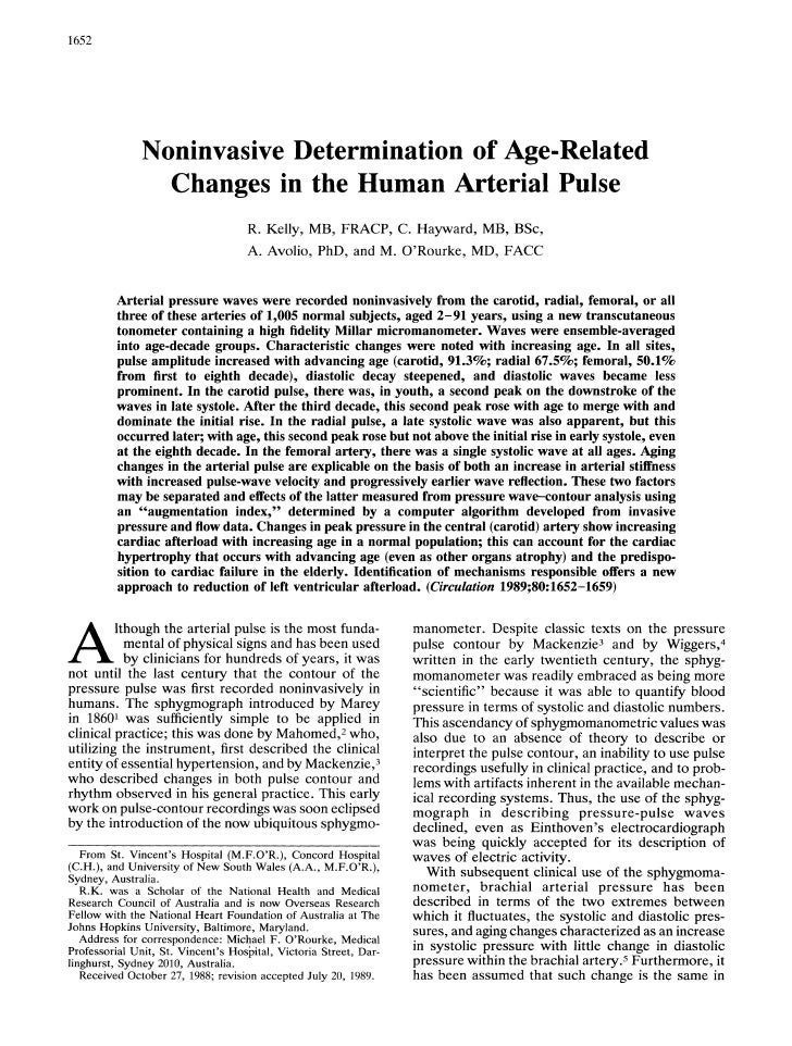 1652                        Noninvasive Determination of Age-Related                      Changes in the Human Arterial Pu...