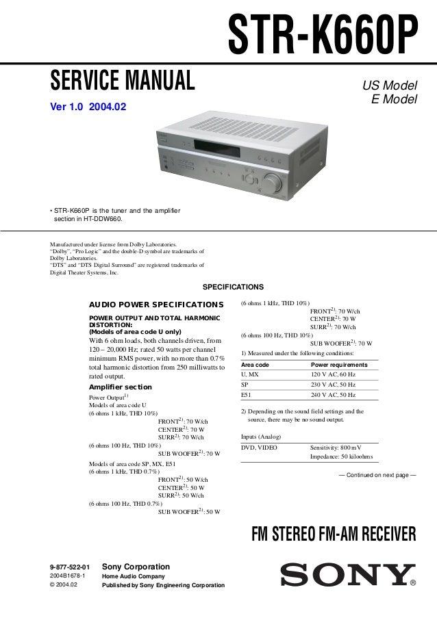 service manual sony str k660p rh slideshare net Hi-Fi Sony Vacs Sony Vacs Stereo