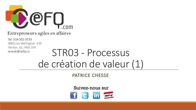 Entrepreneurs agiles en affaires Tel: 514-521-5733 4080,rue Wellington -310 Verdun, Qc, H4G 1V4 reussir@cefq.ca  STR03 - P...