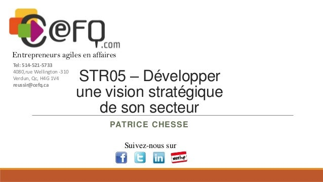 Entrepreneurs agiles en affaires Tel: 514-521-5733 4080,rue Wellington -310 Verdun, Qc, H4G 1V4 reussir@cefq.ca  STR05 – D...