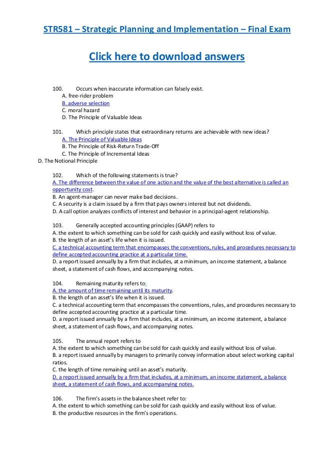 STR581 – Strategic Planning and Implementation – Final ExamClick here to download answers100. Occurs when inaccurate infor...