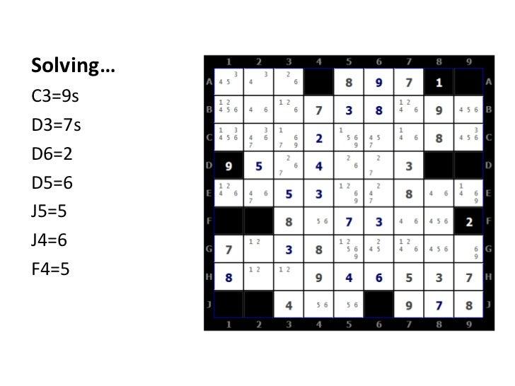 Solving…<br />C3=9s<br />D3=7s<br />D6=2<br />D5=6<br />J5=5<br />J4=6<br />F4=5<br />