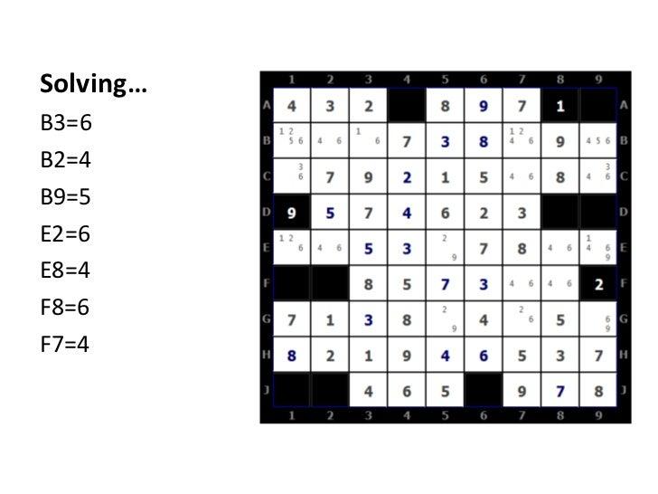 Solving…<br />B3=6<br />B2=4<br />B9=5<br />E2=6<br />E8=4<br />F8=6<br />F7=4<br />