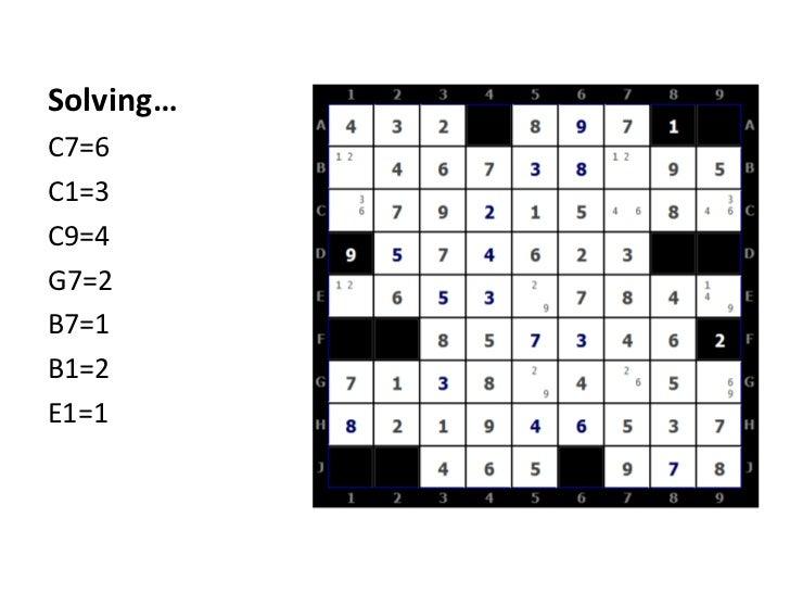 Solving…<br />C7=6<br />C1=3<br />C9=4<br />G7=2<br />B7=1<br />B1=2<br />E1=1<br />
