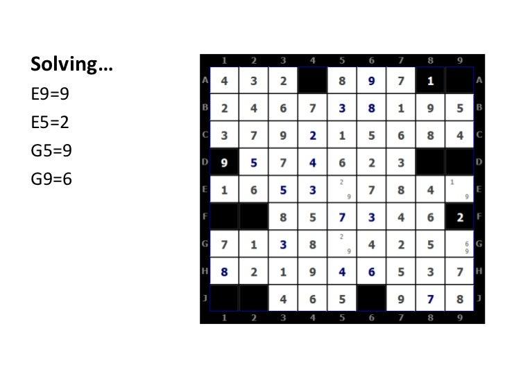 Solving…<br />E9=9<br />E5=2<br />G5=9<br />G9=6<br />