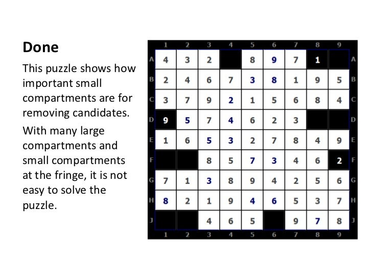 Done<br />This puzzle shows how important small compartments are for removing candidates.<br />With many large compartment...