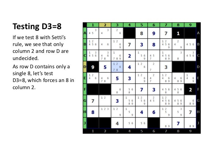 Testing D3=8<br />If we test 8 with Setti's rule, we see that only column 2 and row D are undecided.<br />As row D contain...