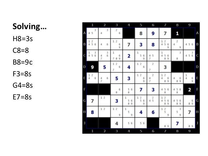 Solving…<br />H8=3s<br />C8=8<br />B8=9c<br />F3=8s<br />G4=8s<br />E7=8s<br />