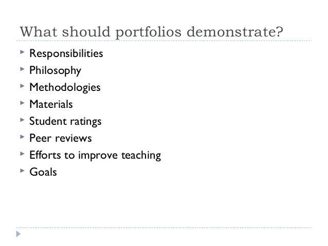 What should portfolios demonstrate?          Responsibilities Philosophy Methodologies Materials Student ratings P...