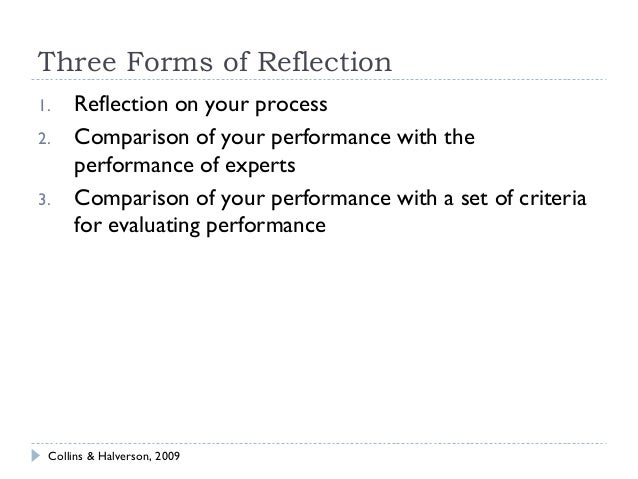a portfolio reflection of three teaching And highly effective ratings on her last three evaluations  approach allows  teachers to build a portfolio and reflect on artifacts that demonstrate their  the  reflective practice conference will be based on teacher reflection in several  required.