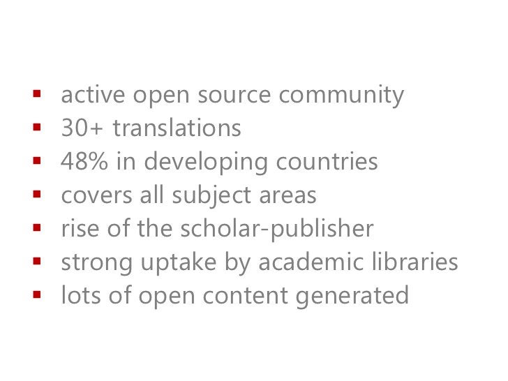    active open source community   30+ translations   48% in developing countries   covers all subject areas   rise of...
