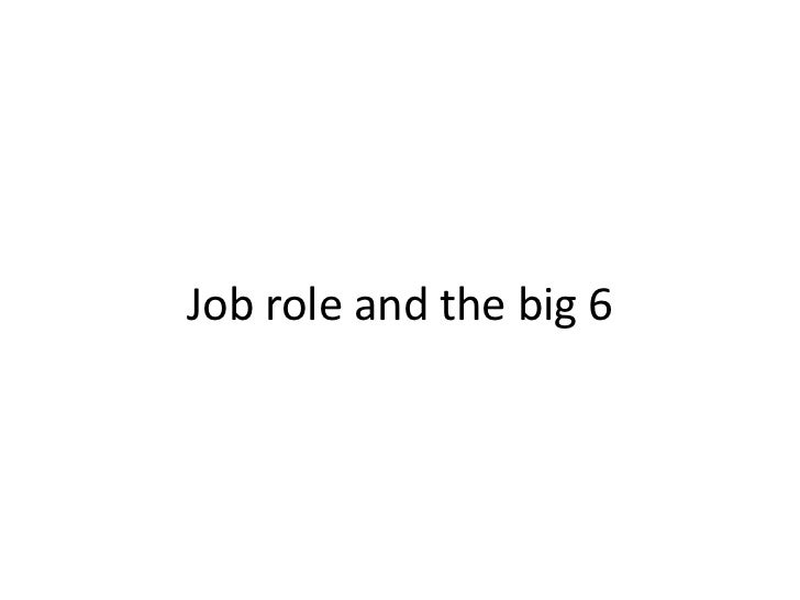 Job role and the big 6<br />