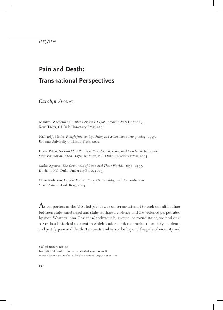 (RE)VIEW     Pain and Death: Transnational Perspectives  Carolyn Strange   Nikolaus Wachsmann, Hitler's Prisons: Legal Ter...