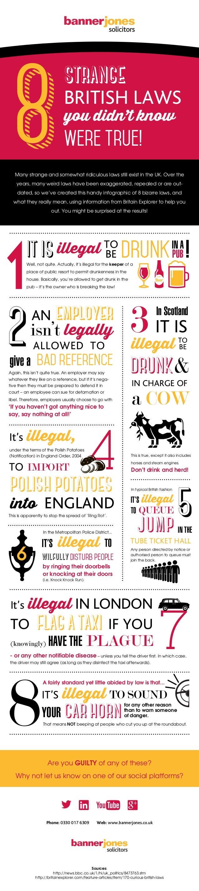 strange BRITISH LAWS you didn't know were true! Phone: 0330 017 6309 Web: www.bannerjones.co.uk Sources: http://news.bbc.c...