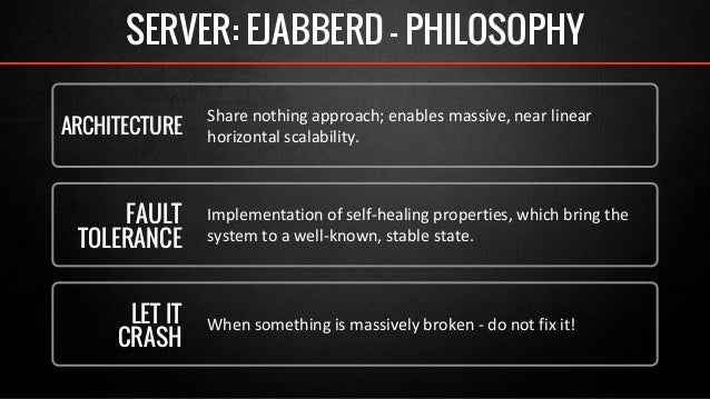 SERVER: EJABBERD - PHILOSOPHY  Share nothing approach; enables massive, near linear  horizontal scalability. ARCHITECTURE ...