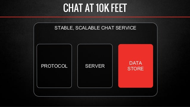 CHAT AT 10K FEET  STABLE, SCALABLE CHAT SERVICE  PROTOCOL SERVER DATA  STORE