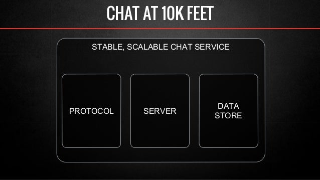 CHAT AT 10K FEET  STABLE, SCALABLE CHAT SERVICE  PROTOCOL DATA  SERVER STORE
