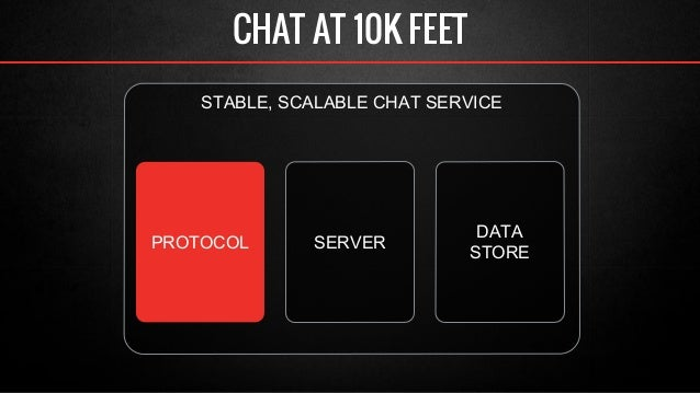 CHAT AT 10K FEET  STABLE, SCALABLE CHAT SERVICE  DATA  PROTOCOL SERVER STORE