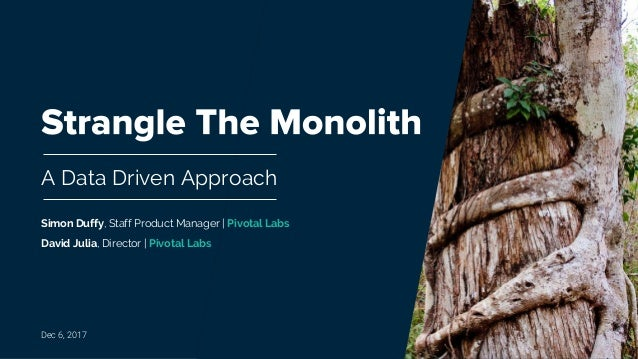 A Data Driven Approach Dec 6, 2017 Simon Duffy, Staff Product Manager | Pivotal Labs David Julia, Director | Pivotal Labs