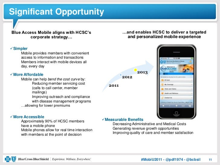 Significant OpportunityBlue Access Mobile aligns with HCSC's                          …and enables HCSC to deliver a targe...