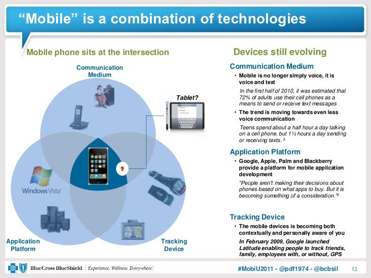 """""""Mobile"""" is a combination of technologies      Mobile phone sits at the intersection             Devices still evolving   ..."""