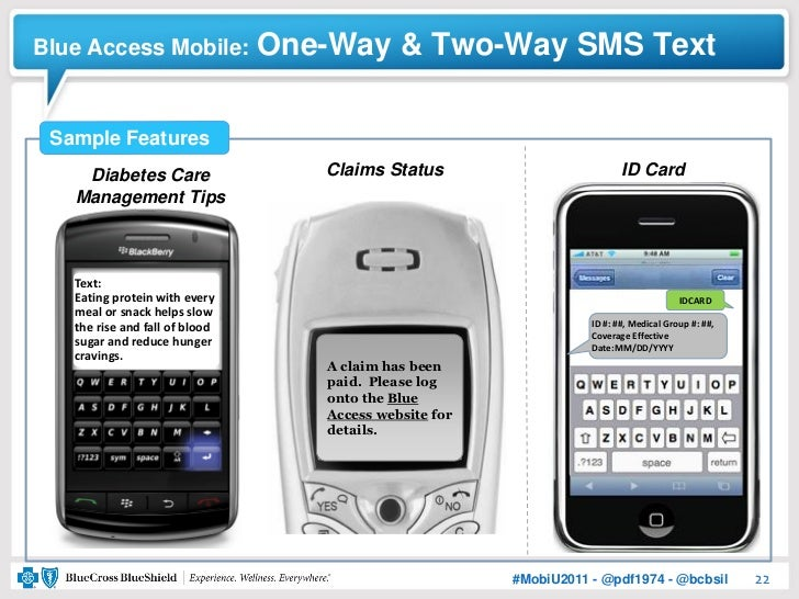 Blue Access Mobile:             One-Way & Two-Way SMS Text Sample Features    Diabetes Care                  Claims Status...