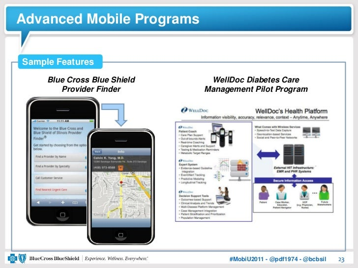 Advanced Mobile ProgramsSample Features     Blue Cross Blue Shield    WellDoc Diabetes Care        Provider Finder       M...