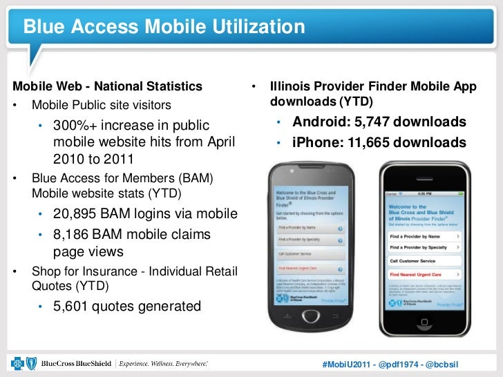 Blue Access Mobile UtilizationMobile Web - National Statistics             •   Illinois Provider Finder Mobile App• Mobile...