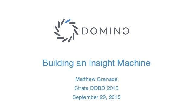 Building an Insight Machine Matthew Granade Strata DDBD 2015 September 29, 2015