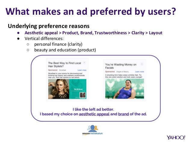 What makes an ad preferred by users? Underlying preference reasons ● Aesthetic appeal > Product, Brand, Trustworthiness > ...