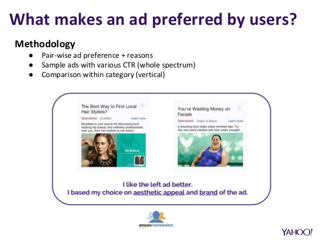 What makes an ad preferred by users? Methodology ● Pair-wise ad preference + reasons ● Sample ads with various CTR (whole ...