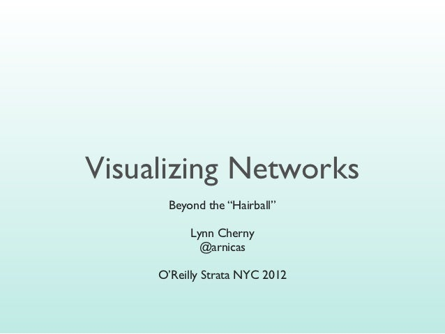 "Visualizing Networks      Beyond the ""Hairball""           Lynn Cherny             @arnicas     O'Reilly Strata NYC 2012"