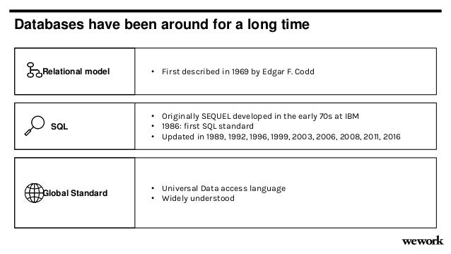SQL Databases have been around for a long time • Originally SEQUEL developed in the early 70s at IBM • 1986: first SQL sta...