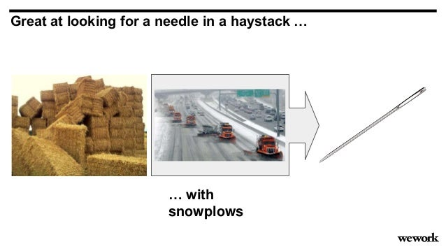 … with snowplows Great at looking for a needle in a haystack …