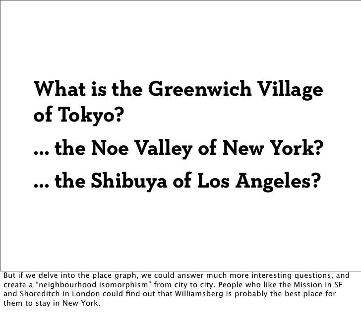 What is the Greenwich Village       of Tokyo?       ... the Noe Valley of New York?       ... the Shibuya of Los Angeles?B...