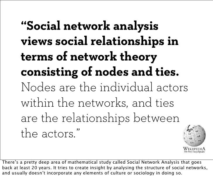 """""""Social network analysis        views social relationships in        terms of network theory        consisting of nodes an..."""