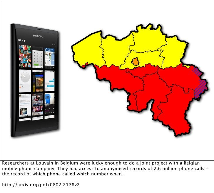 Researchers at Louvain in Belgium were lucky enough to do a joint project with a Belgianmobile phone company. They had acc...