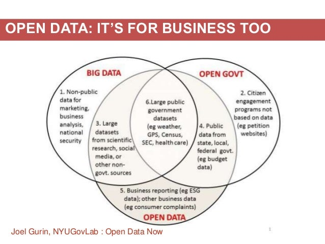 Joel Gurin, NYUGovLab : Open Data Now OPEN DATA: IT'S FOR BUSINESS TOO