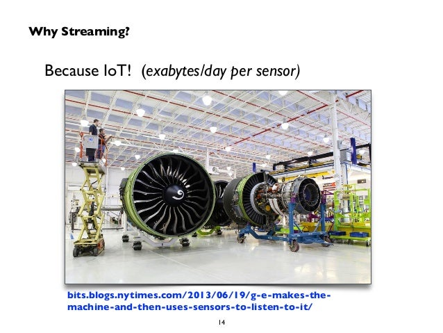 Why Streaming?  Because IoT! (exabytes/day per sensor)  bits.blogs.nytimes.com/2013/06/19/g-e-makes-the-machine-  and-then...